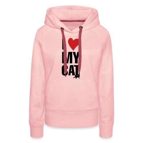 I_LOVE_MY_CAT-png - Sudadera con capucha premium para mujer
