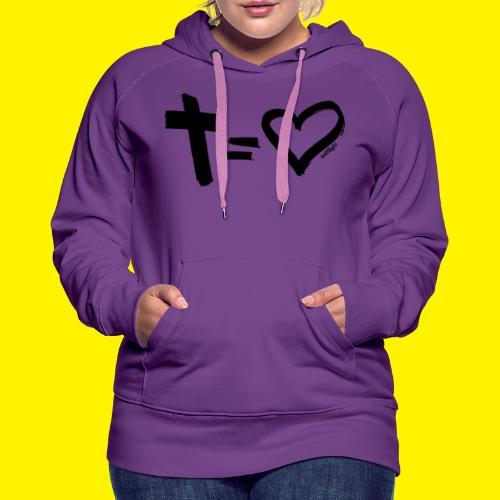 Cross = Heart BLACK - Women's Premium Hoodie