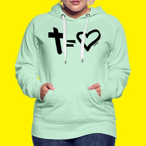 Cross = Heart BLACK - Women's Premium Hoodie