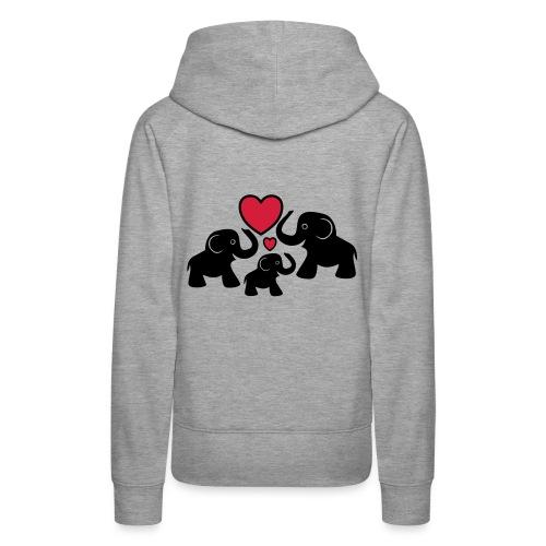 Zu dritt Elefanten Familie Mama Papa Baby Herz - Frauen Premium Hoodie