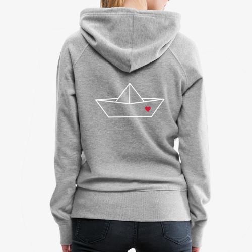 Segelboot Boot Papier Schiff Herz Liebe Geschenk - Frauen Premium Hoodie