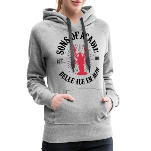 Sons of Acadie Homard Rouge et Noir - Sweat-shirt à capuche Premium pour femmes