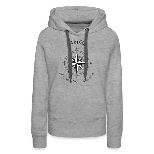 Amble, Northumberland Compass (black) - Women's Premium Hoodie