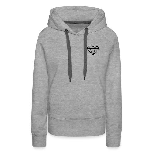 Diamante transparente - Sudadera con capucha premium para mujer