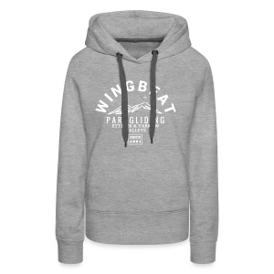 wingbeat logo - big - on back - in white - Women's Premium Hoodie