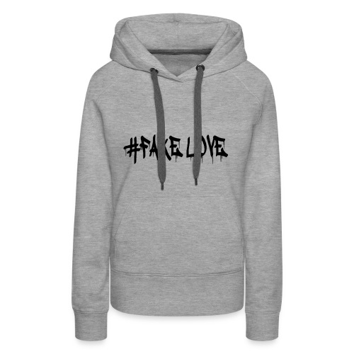 #FAKE LOVE/ BLACK - Sweat-shirt à capuche Premium pour femmes