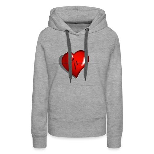 heart - Felpa con cappuccio premium da donna