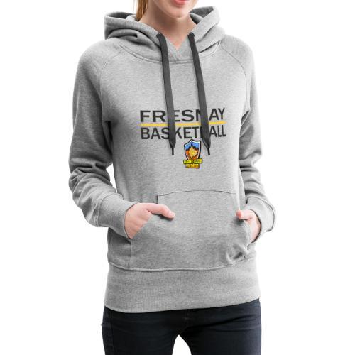 Fresnay basketball avec logo et trait jaune - Sweat-shirt à capuche Premium pour femmes