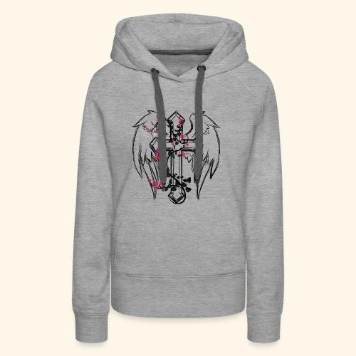 Kreuz mit Rosenranken - Frauen Premium Hoodie