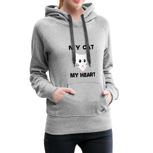my cat my heart - Sweat-shirt à capuche Premium pour femmes