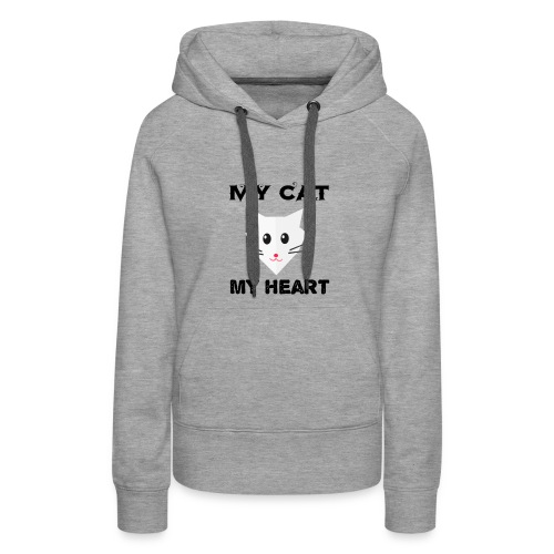 my cat my heart - Sweat-shirt à capuche Premium pour femmes