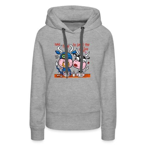 Verliefde koeien drinken koffie - Vrouwen Premium hoodie
