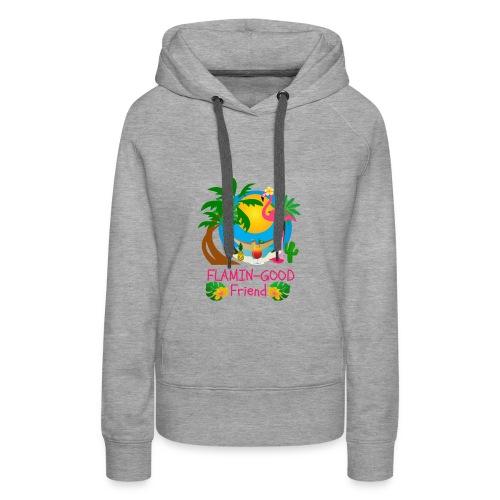 Cute Tropical Flamingo Hawaiian Design Sister Gift - Women's Premium Hoodie