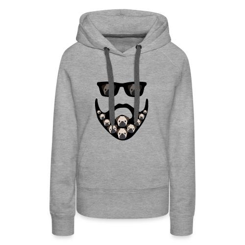 Funny Pug Dog Beard Decoration Design - Women's Premium Hoodie