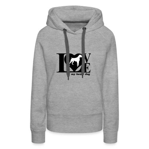 Amor de bóxer - Sudadera con capucha premium para mujer