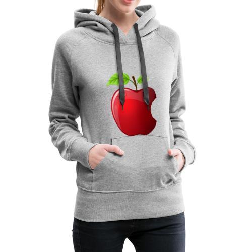 Symbol roter Apfel mit 2 Blätter glänzend - Frauen Premium Hoodie