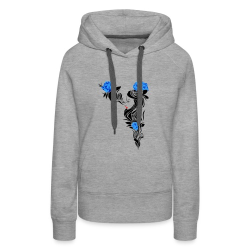 Blue Flowers - Sudadera con capucha premium para mujer