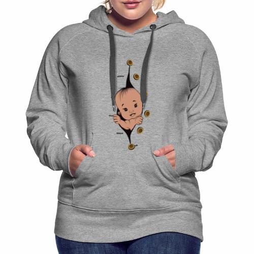 Design 1 baby without smile buttons right - Sweat-shirt à capuche Premium pour femmes