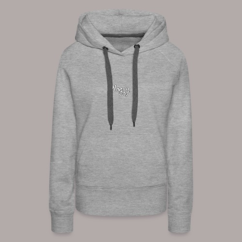 magzy white and black outline writing - Women's Premium Hoodie