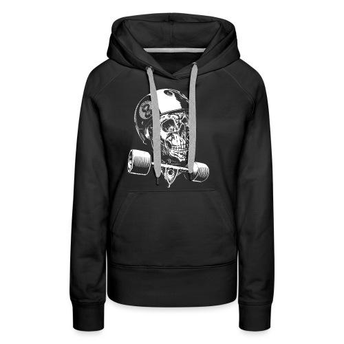 Skull Longboard Rider - negative print - Sweat-shirt à capuche Premium pour femmes