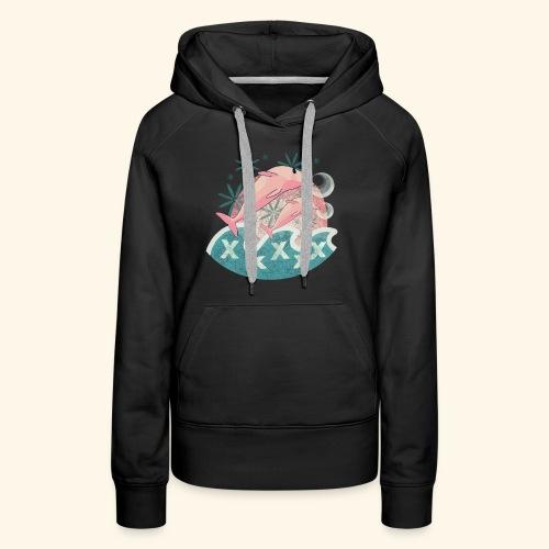 Dauphins rose - Sweat-shirt à capuche Premium pour femmes