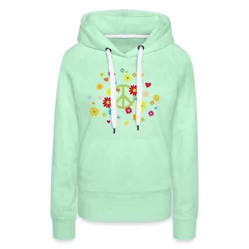 Peacezeichen Blumen Herz flower power Valentinstag - Women's Premium Hoodie