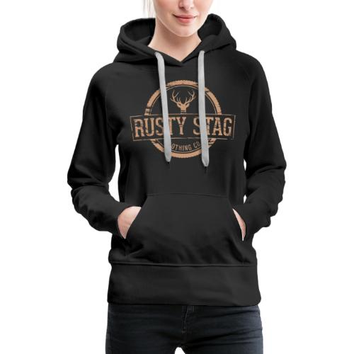 Rusty Stag Weathered Crest - Women's Premium Hoodie