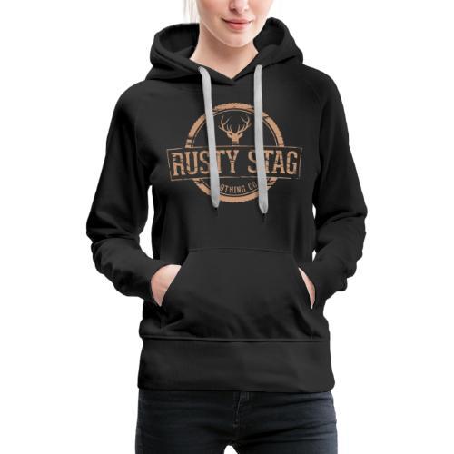 Rusty Stag Weathered Crest - Women's Premium Hoodie