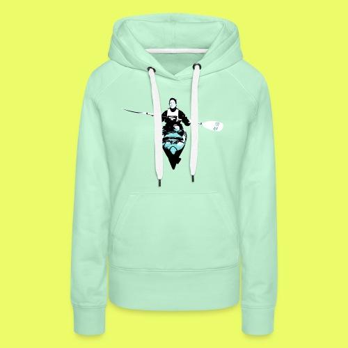 Kajak-frontal-hellblau - Frauen Premium Hoodie