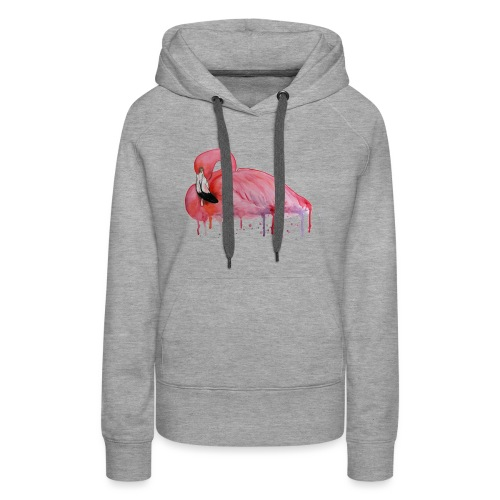 Pink Flamingo Watercolors Nadia Luongo - Felpa con cappuccio premium da donna