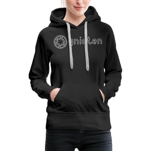 Gnisten Ry (hvidt tryk - horisontalt) - Dame Premium hættetrøje