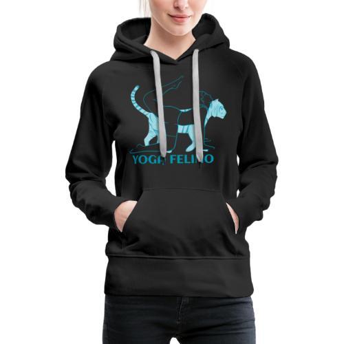 t shirt design YOGA FELINO - Felpa con cappuccio premium da donna