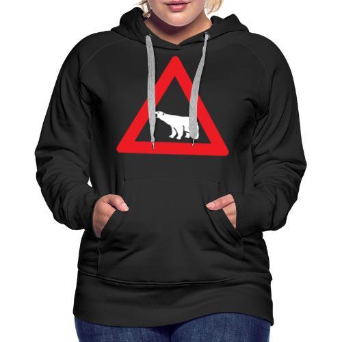 Isbjørn fareskilt (fra Det norske plagg) - Premium hettegenser for kvinner