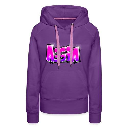 Assia graffiti name printable - Sweat-shirt à capuche Premium pour femmes