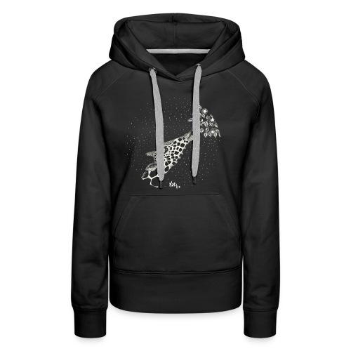 Giraffe eating stars (sin fondo) - Sudadera con capucha premium para mujer