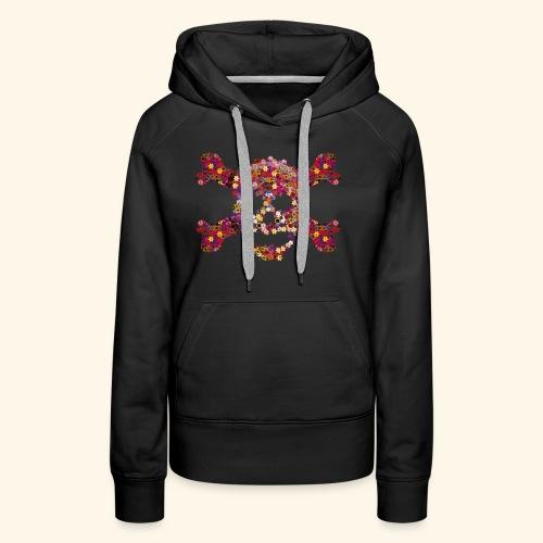 Crâne fleuri - Sweat-shirt à capuche Premium pour femmes