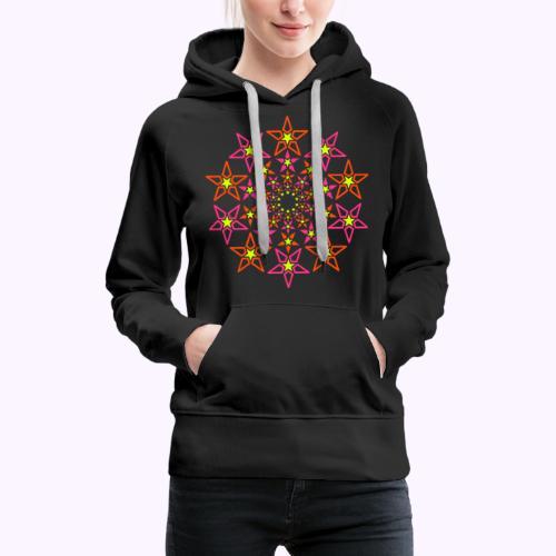 fractal estrella 3 color neón - Sudadera con capucha premium para mujer