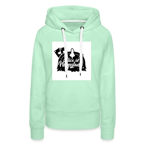 Alice in Nappyland TypographyWhite with background - Women's Premium Hoodie