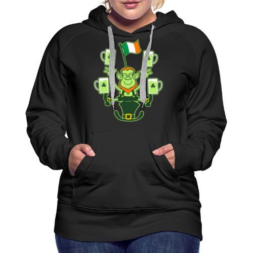 Leprechaun Juggling Beers and Irish Flag - Women's Premium Hoodie