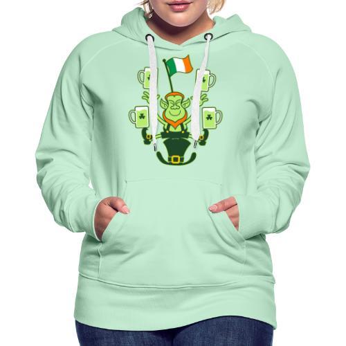 Leprechaun Juggling Beers and Irish Flag - Women's Premium Hoodie