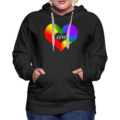 Herz Regenbogen - Frauen Premium Hoodie