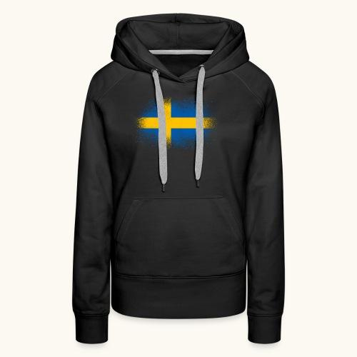 Suède cadeau drôle de drapeau suédois - Sweat-shirt à capuche Premium pour femmes