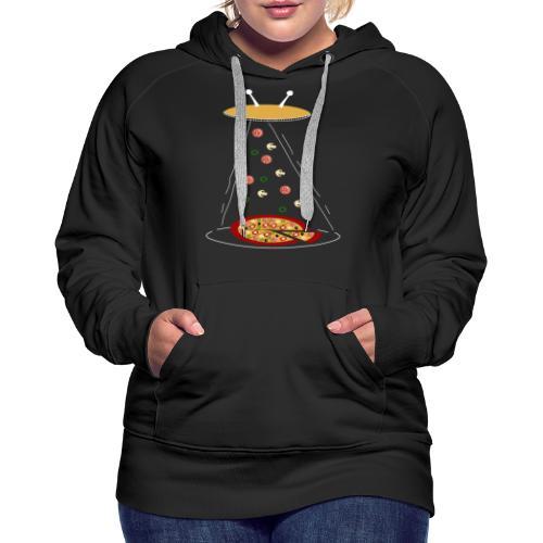 Pizza UFO divertente - Felpa con cappuccio premium da donna