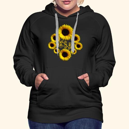 Sonnenblumen mit Ornament, Sonnenblume, Blumen - Frauen Premium Hoodie