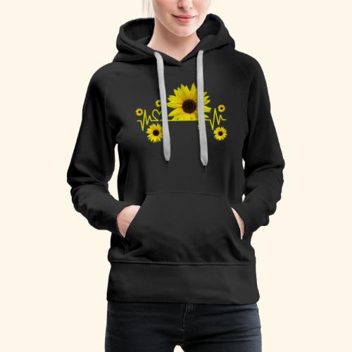 Sonnenblumen, Sonnenblume, Herzschlag, Herz, Blume - Frauen Premium Hoodie