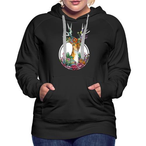 Oktoberfest Design mit Hirschgeweih und Blumen - Frauen Premium Hoodie