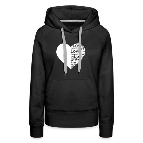 Heart Love, Herz Liebe - Frauen Premium Hoodie