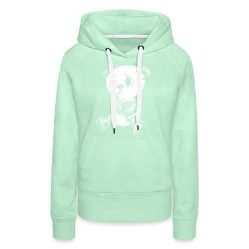 Panda bjørn hvid scribblesirii - Dame Premium hættetrøje