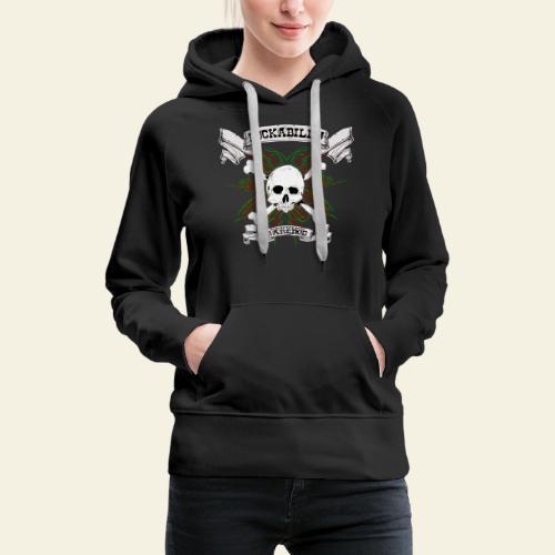Rockabilly Raredog Skull - Dame Premium hættetrøje