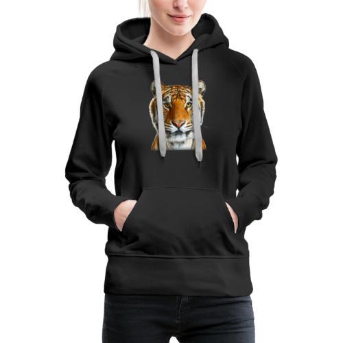 tiger wild animal - Bluza damska Premium z kapturem